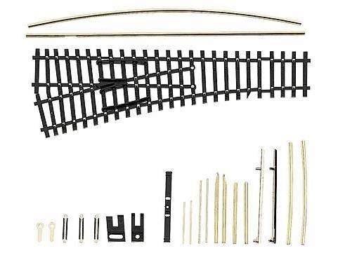 Einfache Weiche EW1 links 15°, Länge 129,5 mm, Bausatz brüniert