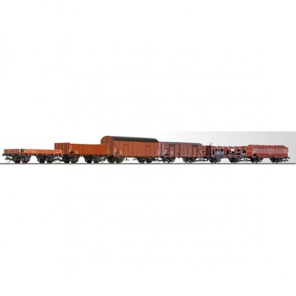 Güterwagenset der DR, bestehend aus sechs verschiedenen Güterwagen, Ep IV