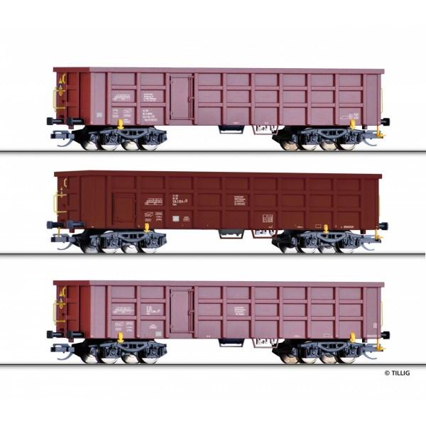 Güterwagenset, bestehend aus drei offenen Güterwagen Eaos der On Rail GmbH, der DB und der BDZ, Ep.