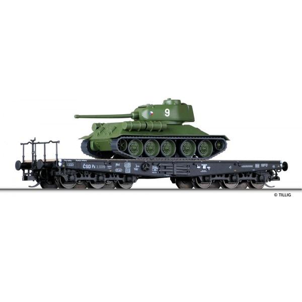 Schwerlastwagen Px der CSD, beladen mit Panzer T34/85, Ep. III