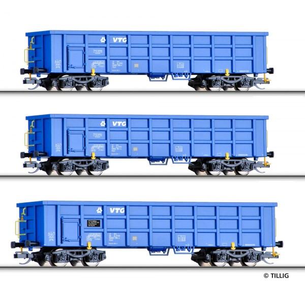 Güterwagenset der VTG, bestehend aus drei offenen Güterwagen Eaos, Ep. VI