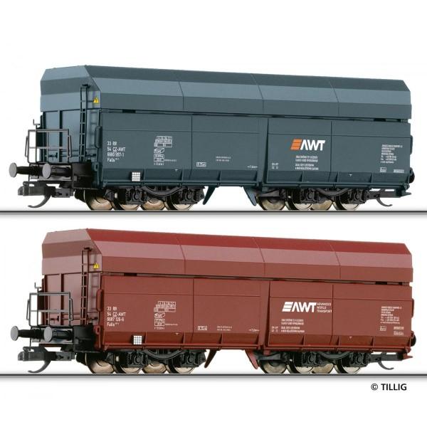 Güterwagenset der AWT (CZ), bestehend aus zwei Selbstentladewagen Falls, Ep. VI