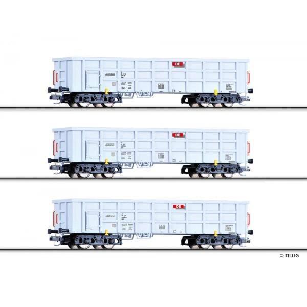 Güterwagenset der Dortmunder Eisenbahn, bestehend aus drei offenen Güterwagen Eaos, Ep. VI