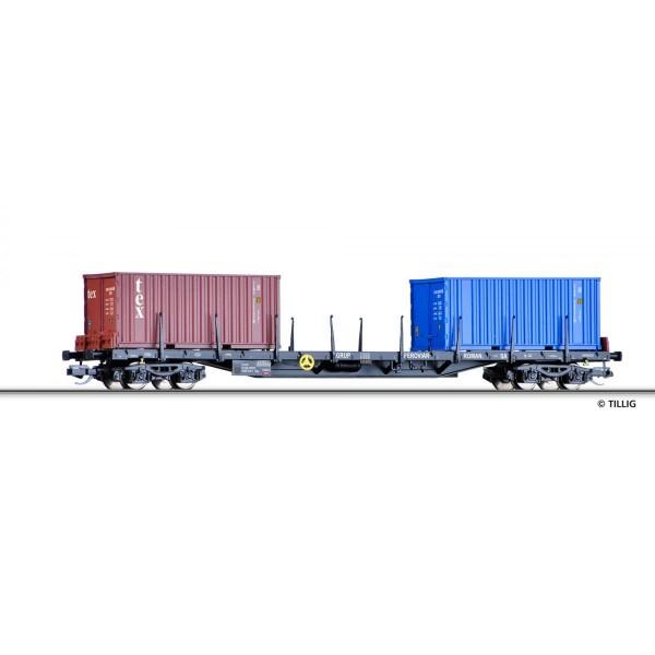 Containertragwagen Rgs der RSCO (RO) beladen mit zwei Containern, Ep. VI