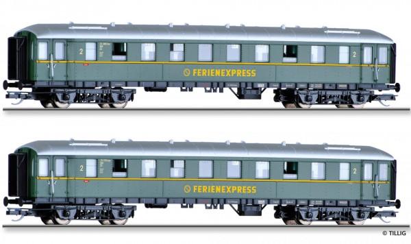 """Reisezugwagenset """"DER-Ferienexpress"""" der DB, bestehend aus zwei Reisezugwagen, Ep. III"""