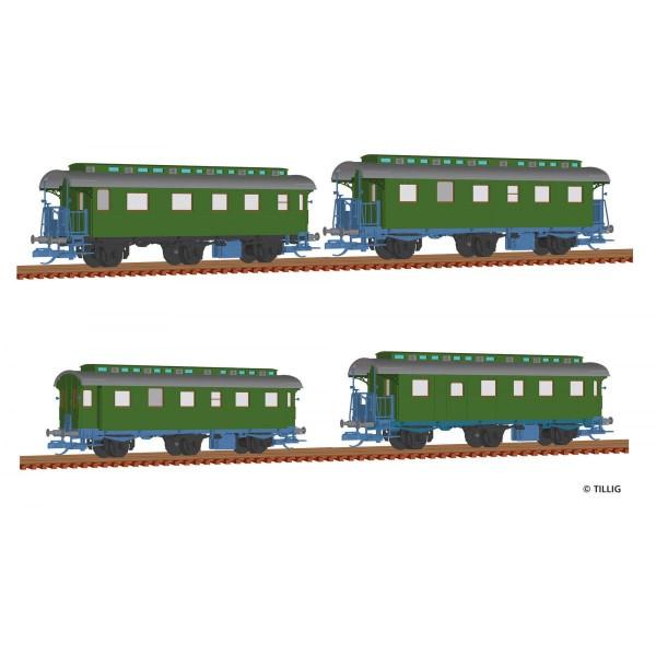 Reisezugwagenset der DB, bestehend aus vier Reisezugwagen (1x 1./2. Kl., 2x 2. Kl., 1x 2. Kl. mit Pa