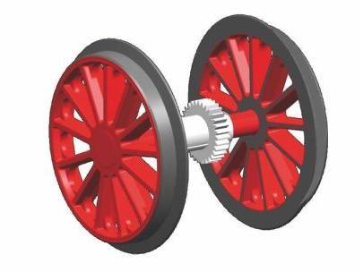 G-Radsatz rot BR 194 mit Zahnrad + Haftreifen