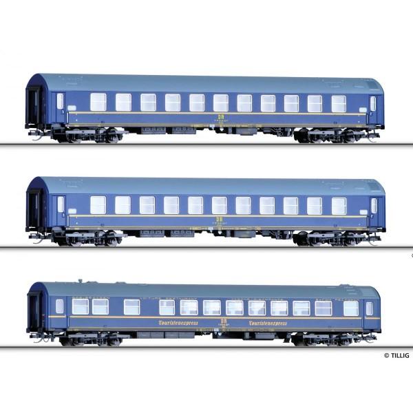 """Reisezugwagenset """"Tourex 3"""" der DR, bestehend aus zwei Schlafwagen und einem Speisewagen, Typ B, Ep"""