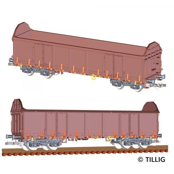 Güterwagenset der DB AG, bestehend aus zwei Güterwagen Ealos-t 58 , Ep. V
