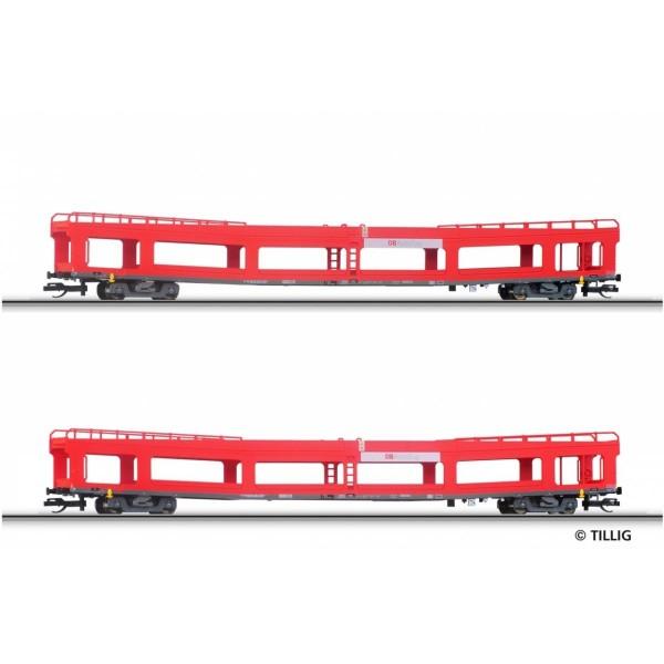 Wagenset der DB AG, bestehend aus zwei Autotransportwagen DDm 916, Ep. V