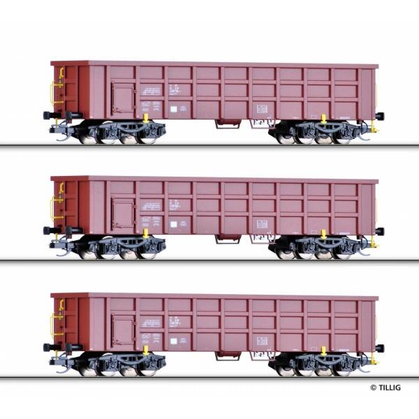 Güterwagenset der DB AG, bestehend aus drei offenen Güterwagen Eaos-x 054, Ep. VI