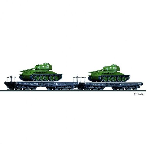 Güterwagenset Militärtransport der PKP, bestehend aus zwei Schwerlastwagen der PKP beladen mit Pan