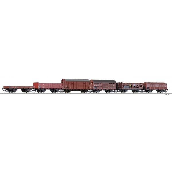Güterwagenset der DR, bestehend aus sechs verschiedenen Güterwagen, Ep. III