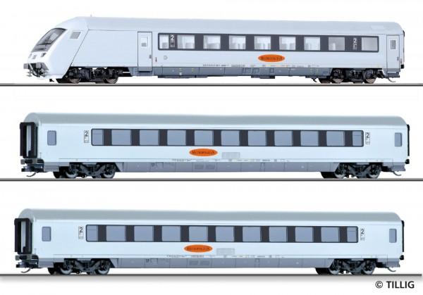 """Reisezugwagenset """"Metropolitan"""" der DB AG, bestehend aus einem Steuerwagen und zwei Reisezugwagen, E"""