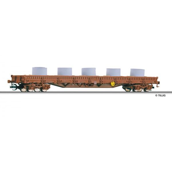 Niederbordwagen Res der DB AG mit Beladung (Betonringe), Ep. VI